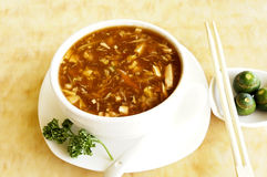 Sweet and sour seafood soup. Picture of Sweet and sour seafood soup Royalty Free Stock Photo