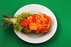 Sweet and sour shrimp in pineapple thai style Stock Images