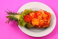 Sweet and sour shrimp in pineapple thai style Royalty Free Stock Photography