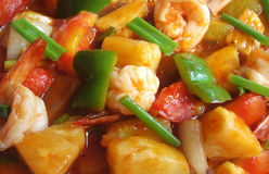 Sweet and sour shrimps. With pineapple Stock Image