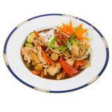 Sweet and sour stir fry isolated on white Royalty Free Stock Photo