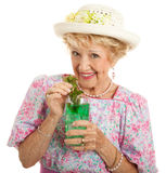 Kentucky Senior Lady with Mint Julep Stock Photography