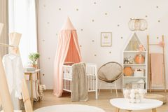 Cute pastel pink nursery royalty free stock images