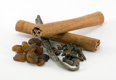 Sweet spices. (cinnamon, vanilia, clove, raisin Stock Images