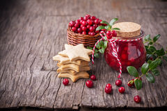 Sweet spicy sauce jam ripe cranberries in a jar on Royalty Free Stock Photo