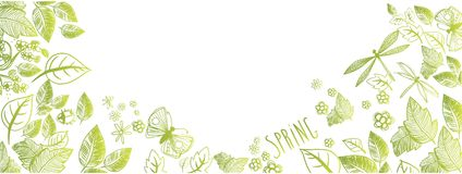 Spring doodles background. Sweet spring doodles full vector large banner Royalty Free Stock Photography