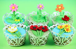 Sweet spring flowers muffin Stock Image