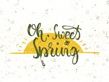 Sweet spring. Solar frame with text. Romantic greeting card. Spring time formulation with a hand drawn on white background. Vector Stock Images