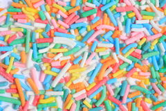 Sweet sprinkles for ice cream topping. Colorful sprinkles of sugary sweet ice cream topping Royalty Free Stock Photography
