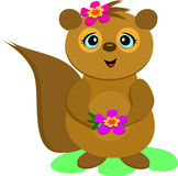 Sweet Squirrel with Flowers Stock Photo