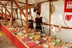 Sweet stall at Medieval Market, Barbate. Royalty Free Stock Images