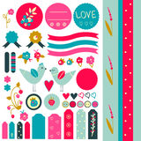 Sweet sticker collection. Cute graphic scrapbook elements in retro style with birds, flower, strawberries and hearts. Eps file is available Stock Photography