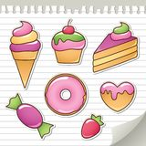 Sweet stickers. Set of stickers with sweets, vector design elements Royalty Free Stock Photography