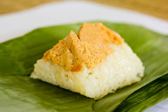 Sweet sticky rice with egg custard topping Royalty Free Stock Photos