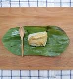 Sweet sticky rice with egg custard Stock Photo