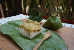 Sweet sticky rice with egg custard Stock Image