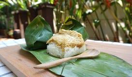 Sweet sticky rice with egg custard Stock Photos