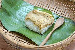 Sweet sticky rice with egg custard Royalty Free Stock Image