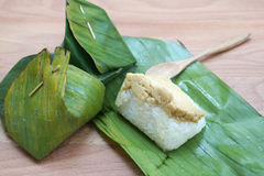 Sweet sticky rice with egg custard Royalty Free Stock Photography