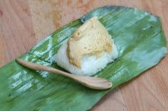 Sweet sticky rice with egg custard Royalty Free Stock Photos