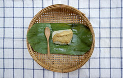 Sweet sticky rice with egg custard Stock Photography