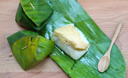 Sweet sticky rice with egg custard Stock Images
