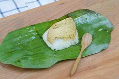 Sweet sticky rice with egg custard Royalty Free Stock Photo