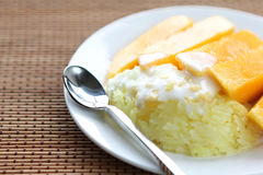 Sweet Sticky Rice With mango Stock Photo