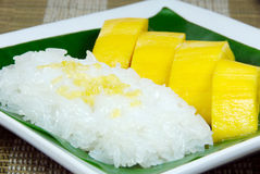 Sweet sticky rice with mango, Thai dessert. Stock Photo