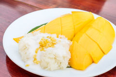 Sweet Sticky rice with mangoes Stock Photos