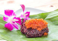 Sweet sticky rice with shrimp topping. Stock Photo