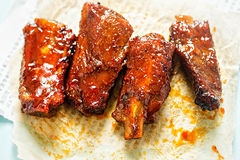 Sweet & Sticky Spare Pork Ribs Royalty Free Stock Photography