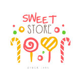 Sweet store, since 1959 logo. Colorful hand drawn label Stock Image