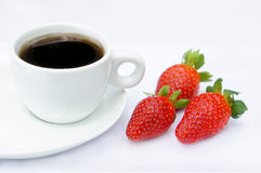 Sweet strawberries and coffee. Sweet strawberries and cup of coffee Royalty Free Stock Photography