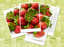 Sweet strawberries photo collage Stock Photo