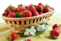 Sweet strawberries in a wicker basket. Sweet and delicate dessert Stock Photos