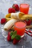 Sweet strawberry and banana juice Royalty Free Stock Photo