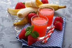 Sweet strawberry and banana juice Royalty Free Stock Photos