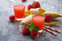 Sweet strawberry and banana juice Royalty Free Stock Image