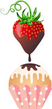 Sweet strawberry dripping with warm milk chocolate to cupcake Stock Photos