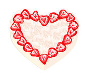 Sweet strawberry heart. Vector image of a dessert of strawberries and cream Stock Image