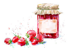 Sweet strawberry jam and berry. Watercolor hand drawn illustration Royalty Free Stock Photo