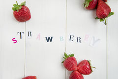 Sweet Strawberry Letters cut out from the Magazine Royalty Free Stock Photos