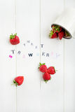 Sweet Strawberry Letters cut out from the Magazine Stock Photo