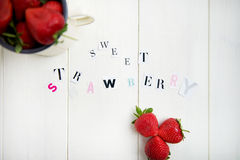Sweet Strawberry Letters cut out from the Magazine Royalty Free Stock Image