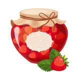 Sweet Strawberry Red Jam Glass Jar Filled With Berry With Template Label Illustration Stock Photo