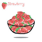 Sweet strawberry  on white background. Bowl full of strawberries  on white background. Watercolor hand drawing vector illustration Royalty Free Stock Photography