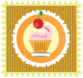 Sweet on striped background, with cherry and cream Royalty Free Stock Photography
