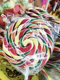 Big Round Lollipop. Sweet Striped Lollipop for Kids royalty free stock photos