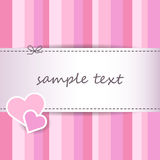 Sweet striped pink valentine day greeting card background - scrapbooking papers - sew Royalty Free Stock Images